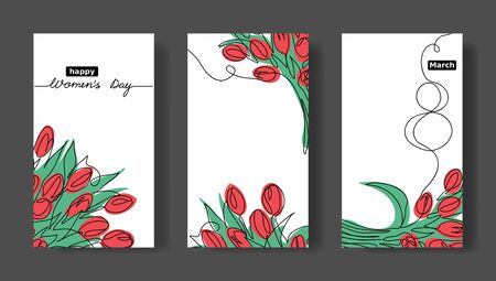 Women s day vector set of greeting cards. Social media stories templates with tulips. March 8 minimalistic , simple card set.