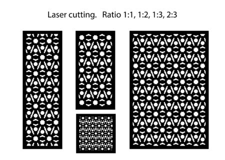 Room devider patterns. Set of decorative vector panels for laser cutting. Template for interior partition in arabesque style.