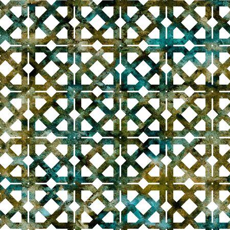 Geometric colorful green grid, lattice in arabesque style. Seamless pattern