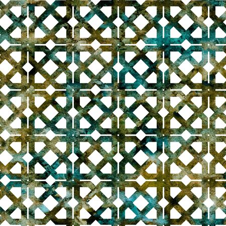 Geometric colorful green grid, lattice in arabesque style. Seamless pattern