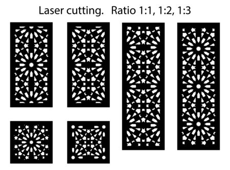 Set of decorative vector panels for laser cutting. Lazer templates for interior partition in arabic islamic style.