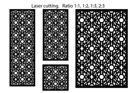 Set of decorative vector panels for laser cutting. Template for interior partition in arabesque style. 矢量图像