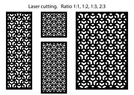 Laser grid modern vector pattern set. Decorative vector panels for laser cutting. Templates for interior partition panels, screens, cut out walls.