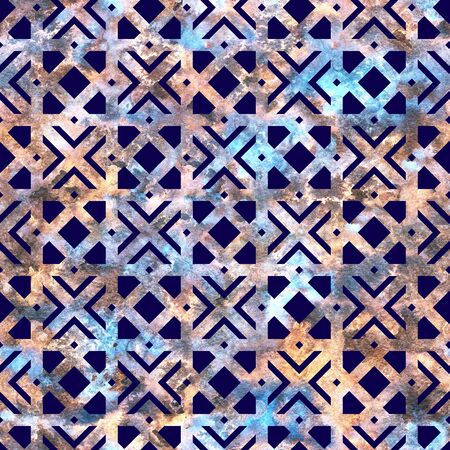 Geometric colorful blue grid, lattice in arabesque style. Seamless pattern.