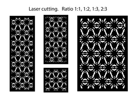 Set of decorative vector panels for laser cutting. Lazer template for interior partition in arabesque style.