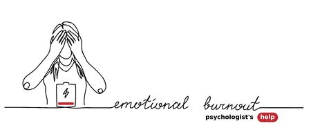 Emotional burnout, stress, low battery simple vector background with woman. Psychologist help web banner. Emotional burnout lettering. One continuous line drawing. Illustration