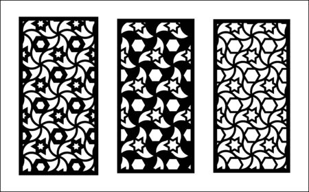Jali laser pattern design. Set of decorative vector panels for laser cutting. Jali template for interior partition in islamic style. Ratio 1 2