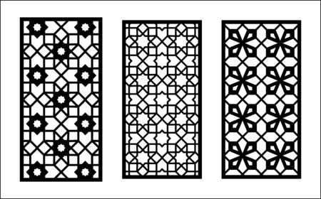 Islamic laser pattern. Set of decorative vector panels for laser cutting. Islamic template for interior partition in arabesque style. Ratio 1:2 矢量图像