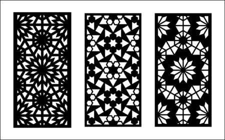 Morocco laser cut pattern. Set of decorative vector panels,screens for laser cutting. Template for interior partition in morocco style. Ratio 1 2. 矢量图像