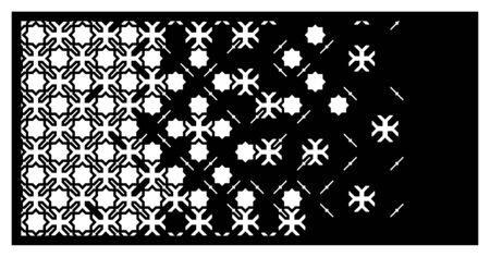 Islamic laser pattern. Decorative vector panel for laser cutting. Islamic template for interior partition in arabesque style. Ratio 1 2