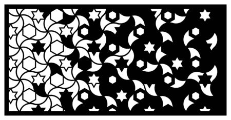 Jali laser cut panel. Decorative vector panel for laser cutting. Jali template for privacy fence in arabic style. Ratio 1 2