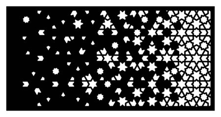 Cnc islamic laser pattern. Decorative vector panel for laser cutting. Islamic cnc template for indoor and outdoor panel. Ratio 1 2