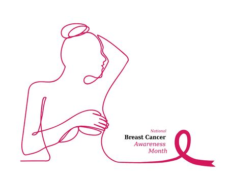 Pink ribbon,womens breast outline vector illustration. One line drawing concept, woman in profile. Poster for Pink ribbon, National Breast Cancer Awareness Month.