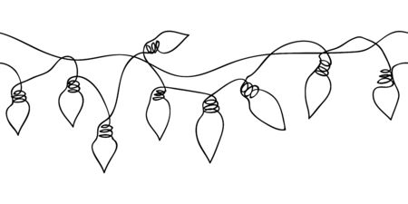 Festoon, garland, glowing light vector seamless border. One continuous line drawing garland for celebration, festival, carnival, xmas, new year festoon web banner, background.