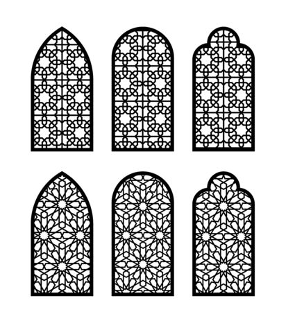 Arabesque arch window or door set. Cnc pattern, laser cutting, vector template set for wall decor, hanging, stencil, engraving.