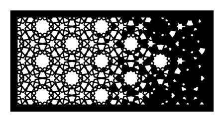 Decorative vector panel for laser cutting. Arabesque laser pattern. Islamic template for interior panel. Indoor or outdoor screen in arabesque style. Ratio 1 to 2.