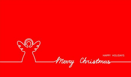 Angel simple outline and Merry Christmas text on red background. One continuous line vector drawing, web banner, illustration. Christmas angel minimalist background. Vettoriali
