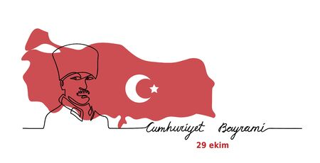 Mustafa Kemal portrait. Vector web banner with map, flag. Ataturk Cumhuriyet Bayrami, 29 ekim. 29 october Republic Day of Turkey. One continuous line drawing background for Turkish National Day celebration.