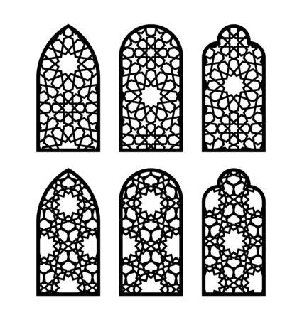 Arabic arch window or door set. Cnc pattern, laser cutting, vector template set for wall decor, hanging, stencil, engraving. Vektoros illusztráció