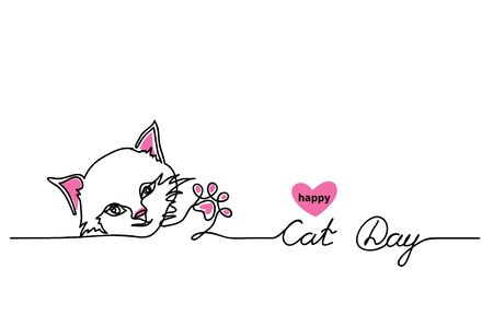 Happy Cat Day vector background, banner, signboard. One continuous line drawing contour, outline with lettering Cat Day.