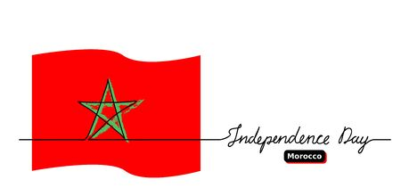 Moroccan Independence Day vector banner, background. One continuous line drawing and lettering. Moroccan vector flag,banner, oster, background.