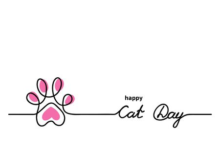 Cat cute vector paw. Happy Cat Day background, banner, signboard. One continuous line drawing contour, outline with lettering Cat Day.