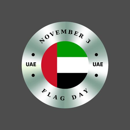 United Arab Emirates UAE Flag Day, November 3. Patriotic silver badge, sticker, coin. Circle, round hologram emblem, sign.