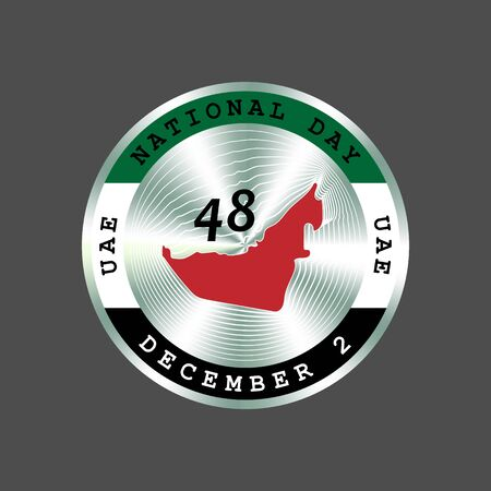 United Arab Emirates UAE National Day, December 2. 48th anniversary circle colorfull and silver badge with flag and map. Round hologram, stiker.