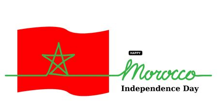 Morocco Independence Day vector banner, background. One continuous line drawing and lettering. Morocco vector flag,banner, poster, background.