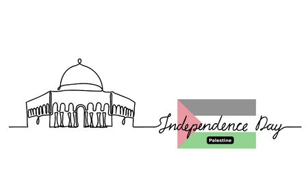 Palestine Independence day vector background. Mosque Dome on Rock Al-Aqsa and flag. One continuous line drawing contour, outline with lettering Independence day.