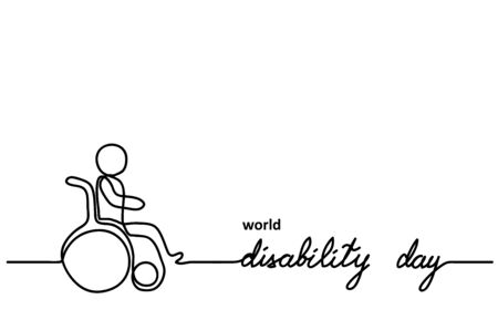 World Disability day vector minimal background. Person in wheelchair sign. One continuous line drawing illustration, background,banner. Çizim