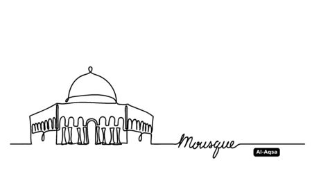Al-Aqsa, Dome on Rock Mosque hand drawn vector outline, sketch. One, continuous line drawing contour, outline with lettering Mosque. Vector Illustration