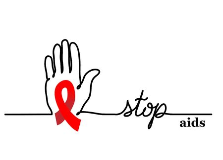 Stop aids. Vector background with hand and red ribbon, loop. Stop aids lettering, one continuous line drawing web banner.