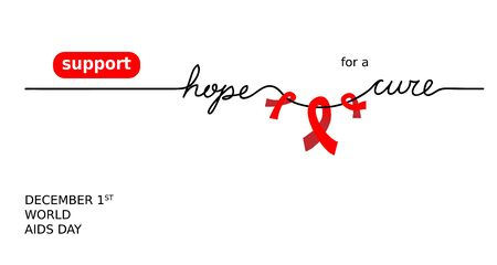 Banner for aids, hiv recovery support. Support hope for cure vector illustration with red loops and lettering. One continuous line drawing web banner.