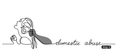 Stop domestic abuse vector poster, banner, background, illustration. Mans arm pulls or grabs woman's hair. One continuous line drawing and handwritten text domestic abuse.