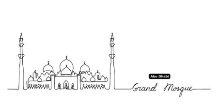 Sheikh Zayed grand mosque one continuous line drawing. Simple, minimal black and white vector background of Grand mosque. Vettoriali