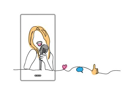 Girl sing on microphone, karaoke. Simple vector illustration, background. Social media influencer, cover song singer. Karaoke media concept with phone, like, thumb up, heart, comment. Imagens - 147245858