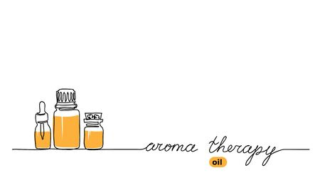 Aromatherapy oil bottle set. Aroma oil vector simple background in one continuous line drawing design.