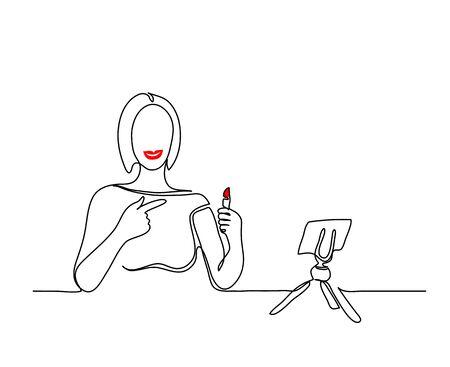 Lipstick promotion vector simple background. Makeup blogger, social media influencer, key opinion leader minimalist background.