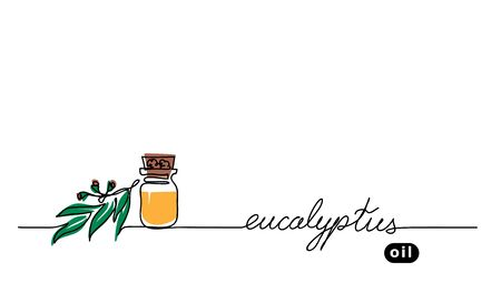 Eucalyptus aroma oil in the glass bottle. Gum-tree leaf, brunch. Vector one continuous line drawing background of eucalyptus.