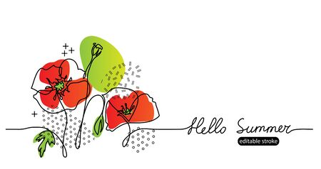 Hello summer vector web banner with poppies flowers. Summer floral simple minimalist sketch, illustration with editable stroke. One continuous line drawing banner.