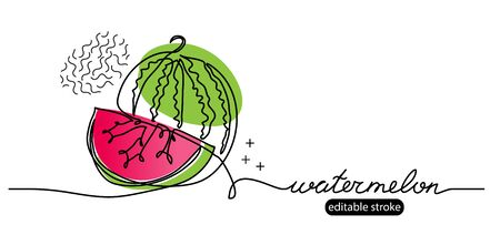 Watermelon vector sketch, illustration, banner in modern memphis style. One continuous line drawing. Minimalist banner, background, poster with lettering watermelon and editable stroke.