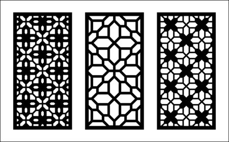 Laser pattern. Set of decorative vector panels for laser cutting. Template pattern for interior partition in arabesque style. Ratio 1 to 2.