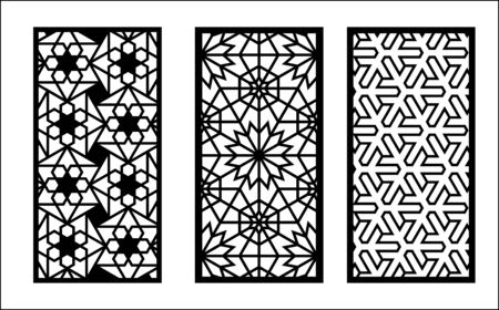 Laser arabesque pattern. Set of decorative vector panels for laser cutting. Template for interior partition in arabesque style. Ratio 1 to 2.