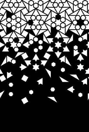 Arabic black and white vector seamless border, wallpaper. Geometric arabic halftone border,pattern, texture with tile disintegration.