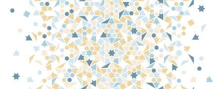Pale blue arabesque vector seamless background. Geometric halftone background with color arabesque tile disintegration. Ilustrace
