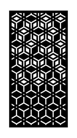 Panel de vector de corte láser moderno, pantalla, valla, divisor. Patrón decorativo cnc, diseño jali, elemento interior. Plantilla de corte por láser moderno.