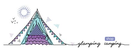 Glamorous camping concept. Vector tent, camp simple web banner. Glamping camping lettering. Sketch illustration, background, poster, banner.One continuous line drawing background with tent.