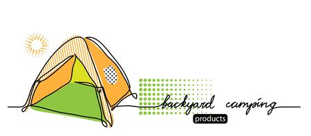Backyard camping lettering. Vector tent, camp simple web banner. Sketch illustration, background, poster, banner.One continuous line drawing banner with tent.