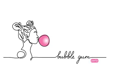 Bubble gum balloon vector sketch. Young girl, teenager with bubblegum ball, simple illustration. One continuous line drawing web banner, background, poster with lettering. Editable stroke.